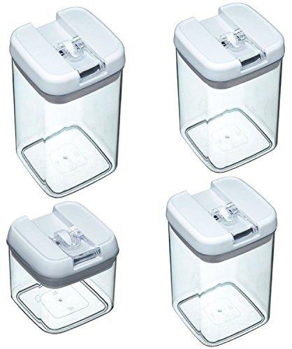 4 teiliges Set Vorratsdose Easy Lock Verschluss 1200 ml / 800 ml / 800 ml / 500 ml Vorrats Behälter luftdichter Aufbewahrungsboxen Frischhaltedosen Kunststoffbehälter ist Spülmaschinentauglich