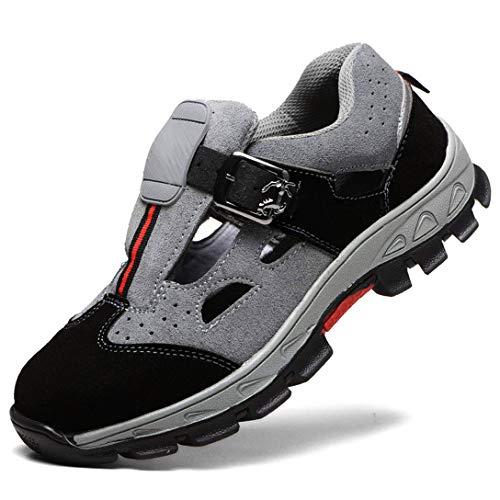 WODEQ Damen Herren Sicherheitsschuhe S3 Arbeitsschuhe Sandalen Cool Atmungsaktiv Schutzschuhe mit Stahlkappe,Gray,40EU