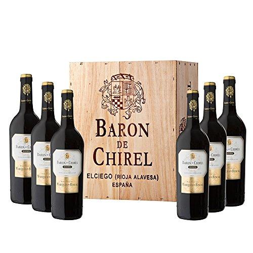 Caja De Madera 6 Botellas Barón De Chirel Tinto