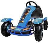 Gokart für Kinder mit Luftbereifung Blau Tretauto Go Kart Tretfahrzeug