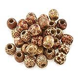 Pandahall, perline di legno rotonde in colori misti, 16 x 17 x 17 mm, con foro grande da 7 mm, distanziatori in legno, per fai da te, creazione di gioielli
