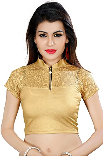 CDPL Express Women's Shimmer Net Stitched Blouse B-200_Beige_Free Size