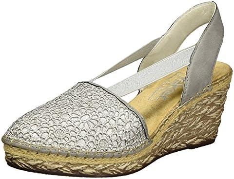 Rieker Damen 69950 Geschlossene Sandalen mit Keilabsatz, Grau (Staub-Silber/Staub / 42), 41 EU