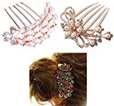 Eife Pack of 3 (Peacock Style Clip, Bowknot Style, Flower Style) Bridal Wedding Crystal Rhinestone Hair Pin Clips Comb