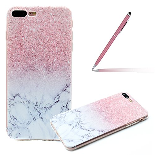 iPhone 7 Plus Silicone Case,iPhone 7 Plus Coque - Felfy Coque Souple Transparente TPU Silicone en Gel Case Premium Ultra-Light Ultra-Mince Skin de Protection Pare-Chocs Anti-Choc Bumper pour Apple iPh Marbre Coque