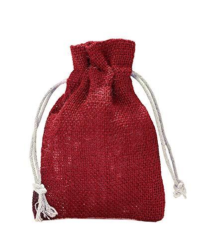 5 Jutesäckchen, Jutebeutel mit Baumwollkordel, Größe: 40x30 cm, 100% Jute, Winter-Topfschutz, Dekoration, Jute-Geschenkverpackung, Aufbewahrung (Rot)