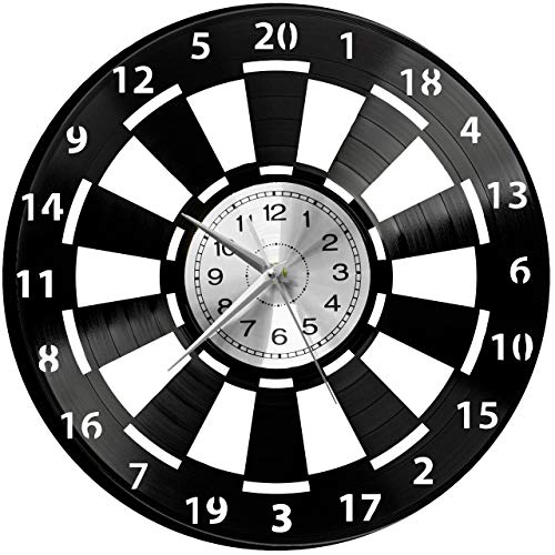 WoD Darts Wanduhr Vinyl Schallplatte Retro-Uhr groß Uhren Style Raum Home Dekorationen Tolles Geschenk Uhr