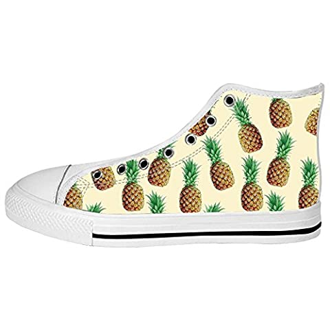 Custom Pineapples Cartoon Women's Canvas Shoes Lace-up High-top Footwear Sneakers