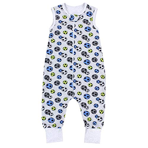 TupTam TupTam Unisex Babyschlafsack mit Beinen Unwattiert, Farbe: Bälle Blau Grün/Grau, Größe: 80-86