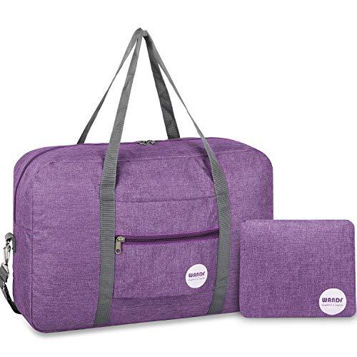 WANDF Foldable Travel Duffel Bag Super Lightweight for Luggage, Sports Gear or Gym Duffle, Water Resistant Nylon (25L Viola chiaro con tracolla)