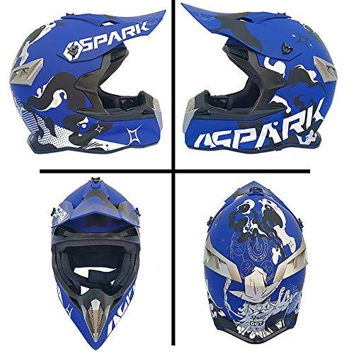 MMGIRLS Motorrad-Offroad-Jugend-DOT-Motorrad-Crash-Anzug (einschließlich Helm, Maske, Schutzbrille, Handschuhe, 4 Stück), mattblau,M -