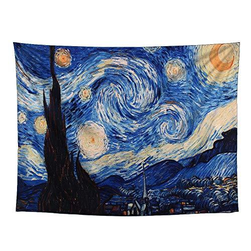 YAMUDA Tapiz de Noche Estrellada, Hippie, Galaxia, Tapiz, psicodélico, diseño de Van Gogh, para Colgar en la Pared, Tapiz para Decorar Apartamentos, Dormitorio, Sala de Estar, tapices de Dormitorio