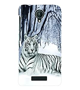 Fuson 3D Printed White Tiger Designer Back Case Cover for Micromax Canvas Spark Q380 - D713