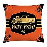 """Krooe Fodera per Cuscino Retro Lancio Hot Rod Design Poster per Poster con Camion Personalizzato Fodera per Cuscino Motore Vintage Americana 18""""X 18"""" Arancione Nero Sabbia Marrone"""
