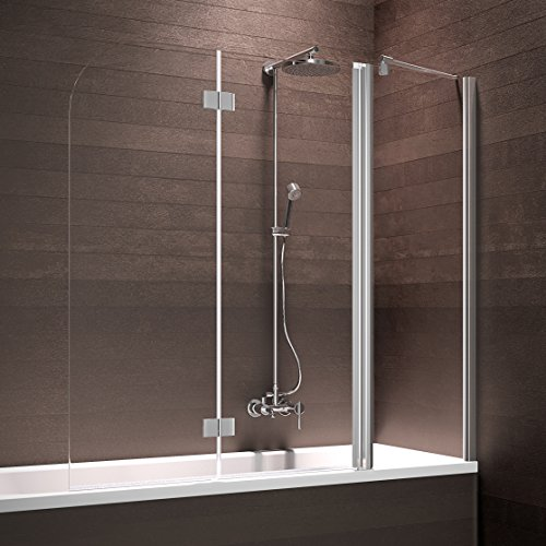 Schulte Badewannenaufsatz Duschabtrennung Badewanne 3 teilig mit Festelement, 150x140 cm, Sicherheitsglas klar beschichtet, Profile chrom-optik, Triplex