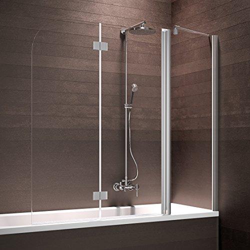 duschtuer klappbar Schulte Badewannenaufsatz Duschabtrennung Badewanne 3 teilig mit Festelement, 150x140 cm, Sicherheitsglas klar beschichtet, Profile chrom-optik, Triplex