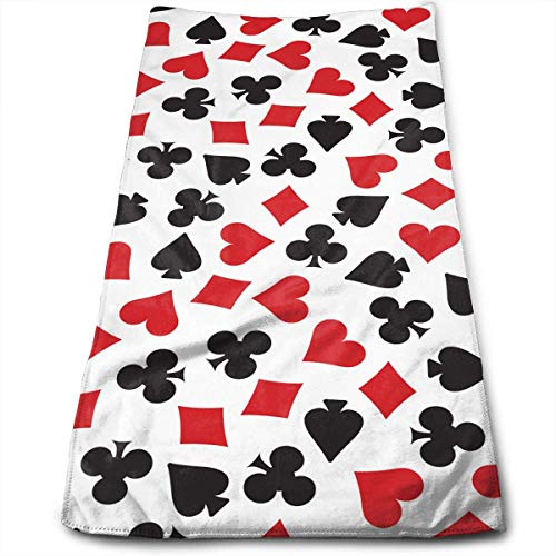 Playing Card Suit Casino Pattern Face Hand Towels Microfiber Sport Towels for Sports, Hair Care, Cosmetology, Cleaning, Furniture Makeup Removing Cloths Fast Drying 30x70 cm