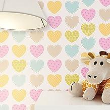 Papel Pintado infantil pequeño Corazón Multicolor en colores suaves | Süße Papel pintado para habitación infantil o habitación de los Niños | Incluye newroom tapezier ayuda | Niños joven Niñas Baby