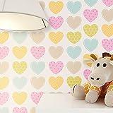 Kindertapete kleine Herze Bunt in sanften Farben | süße Tapete für Babyzimmer oder Kinderzimmer | inklusive Newroom Tapezier Hilfe | Mädchen Jungen Jungs Baby