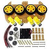 Fantasyworld Smart Kit de Voiture avec 4 Roues motrices Vitesse codeur Intelligent Robot Châssis de Voiture Kits et Box Batterie pour Arduino Kit DIY