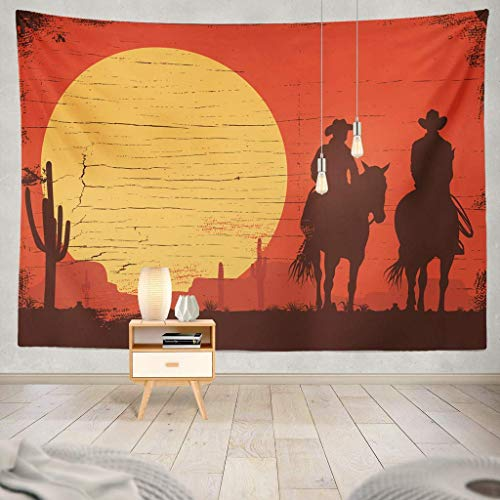 Tapisserie Silhouette Cowboy Couple Wooden Sign Cowboy West Wild Cowgirl Country Sunset Banner Western Beautiful Bride and Decorative Tapestry,60X60 Inches Wall Hanging Tapestry for Bedroom Living R