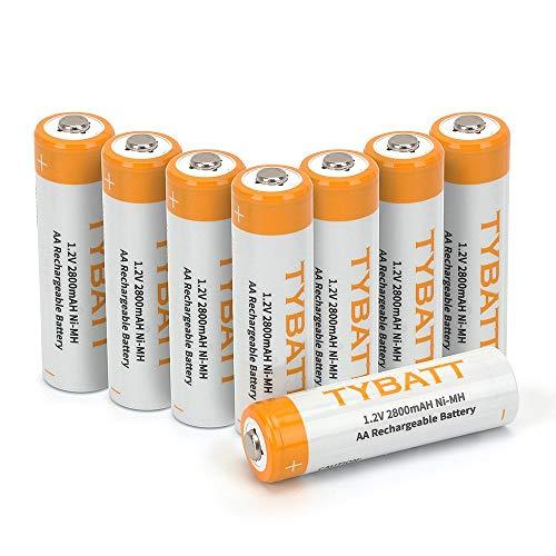 Wiederaufladbare Batterien, TYBATT NiMH Akku AA Mignon 2000mAh hochkapazitiv Hohe Kapazität ohne Memory-Effekt Profi Digital Kamera-Akkubatterie 8er Pack (Profi Digital Kamera)