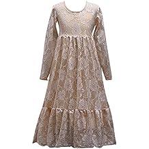 Vestido de Fiesta Tul Encaje Mangas largas Disfraces Color sólido Boda Princesa Tutú Vestido para Niñas Chicas