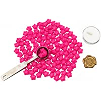 makhry europea Retro Ceralacca perline set a forma di stella con perline in ceralacca Tea Light, Bronzo Anticato con incisione cera Scala e fusione cucchiaio Rose Pink