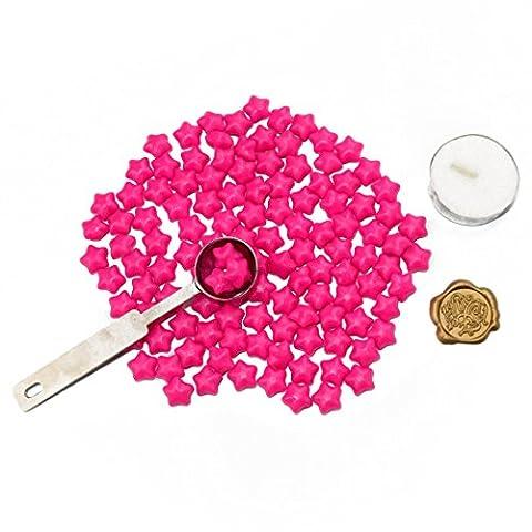 makhry européenne rétro perles de cire de perles de cire en forme d'étoile avec lumière Thé, bronze antique gravée Cire échelle et Fondante Cuillère rose