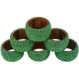 Cadena de bolas de aluminio hecho a mano en India de madera servilleta anillos, Verde, Pack de 6