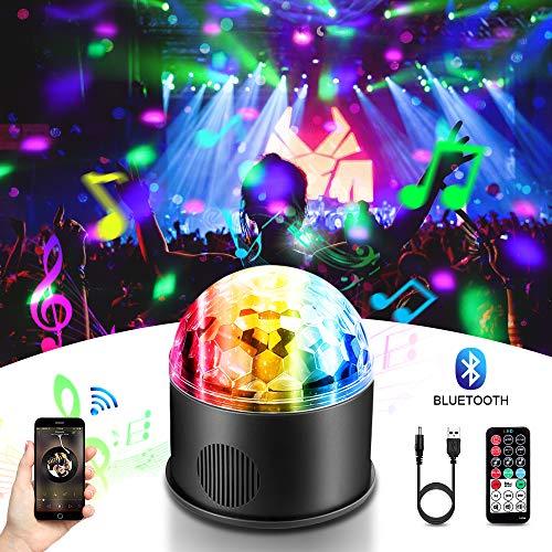 LED Discokugel, HY 9 Farbe Bluetooth Musik Party Discolampe Partyleuchte RGB Lichteffekte Bühnenbeleuchtung Party Licht Deko mit USB für Karaoke, Geburtstag und Halloween MEHRWEG (An Ball Disco Decke Der Montiert)