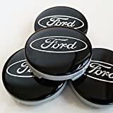 Set of 4 Ford Alloy Wheels Center Hub Caps 54 mm Cover BLACK / Silver Logo Wheel Badge Ka Kuga Fusion Fiesta Focus Mondeo Galaxy C-MAX S-MAX and other models