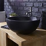 Unbekannt Tikamoon ISA Waschtisch Badezimmer, Terrazzo, schwarz, 40x 40x 17cm