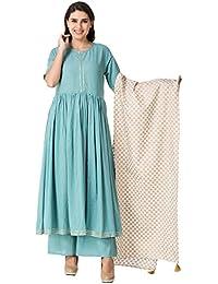Khushal Women's Cotton Designer Kurta With Palazzo Dupatta Set