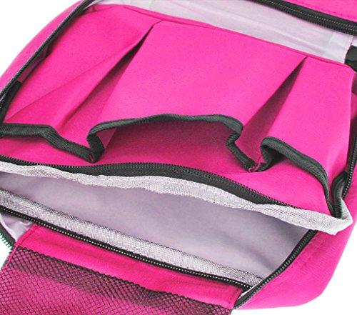 FakeFace Faltbar Kosmetiktasche Handtaschen Kulturtasche Beutel Bag in Bag Make Up Bag Organizer für Angenehme Reise Haushalt Camping Grün Rosa