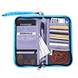 GADIEMENSS Travel Wallet Passports Holder with RFID Blocking Offer Family Organizer for Credit & Business Cards, Document, Boarding Pass, and Accessories (Blue)