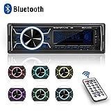 Autoradio Bluetooth, 1 Din Radio de Voiture, 7 Couleurs Poste Radio Stéréo FM Radio USB/SD/AUX/EQ/Lecteur MP3 Autoradio