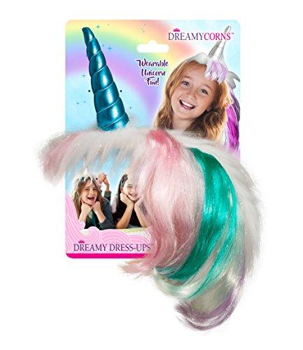 Dreamy Dress-Ups / Noa Poa Dreamycorns - Hochwertig verarbeitete MAGISCHE Einhorn Kopfbedeckung (türkis mit bunter Mähne)