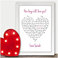 Ellie Goulding How Long Will I Love You PERSONALISED Birthday Gifts Present Mum - PERSONALISED with ANY NAME and ANY RECIPIENT - Black or White Framed A5, A4, A3 Prints or 18mm Wooden Blocks
