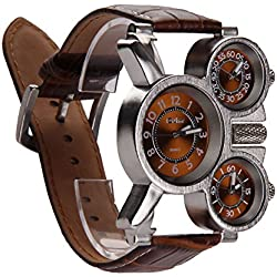 Vakind Men's Quartz Military Wrist Watch with 3-Movt 23mm Stainless Steel Band Sport Watches (brown)