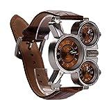 Youn Oulm montre homme avec cadran Marron 3-movt Marron 23mm Bracelet en acier...