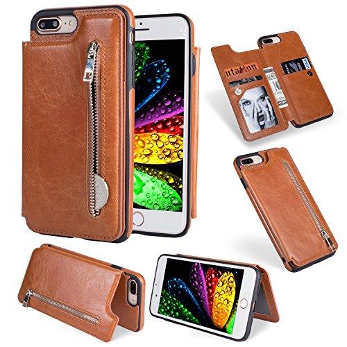 Artfeel Flip Brieftasche Hülle iPhone 7 Plus, iPhone 8 Plus Leder Handyhülle mit Kredit Kartenhalter,Retro Multifunktion Reißverschluss Tasche Zurück Abdeckung mit Ständer Magnetverschluss-Brown
