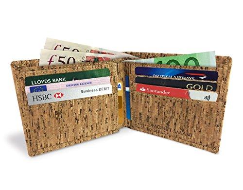 Lederfreie Geldbörse mit RFID-Schutz - klassisches & Vintage Design für Herren - aus natürlichem Kork hergestellt - stylishes Portemonnaie mit Kartenfächern & Geldscheinfach - vegan & umweltfreundlich - 2
