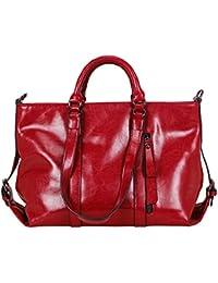 Ilishop High Quality Women's New Fashion Handbag Genuine Leather Shoulder Bags Tote Bags Hot Sale (Pink)