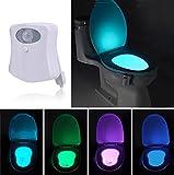 WC Nachtlicht LED Toilette Licht Lampe mit Bewegungssensor Batteriebetriebenes Licht Toilettenlicht Toilettenbeleuchtung für Kinder Badezimmer Hause 8 Farbenwechsel