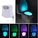 Tapa de inodoro Luz nocturna LED Lámpara de luz con sensor de movimiento batteriebetriebenes Luz de WC Luz Iluminación para niños baño casa 8Cambio de color