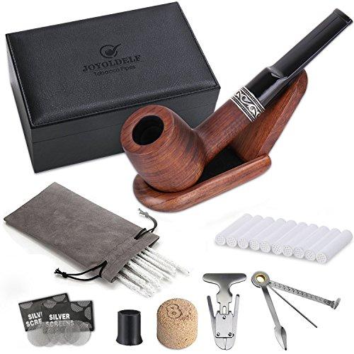 DIMJ Tabakpfeife gerade mit Luxus Raucher Box, Rosenholz Pfeifen Set Einschließlich faltbaren Pfeifenständer, 3-in-1-Pfeifenstopfer und andere Pfeifen Zubehör -