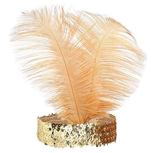 Kostüm Showgirl Gold (BABEYOND 1920s Stirnband Feder Flapper Stirnband Roaring 20er Showgirl Haarband Gatsby Stil Accessoires Damen Retro)
