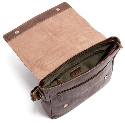 LEABAGS Gent borsa a tracolla vintage in vera pelle di bufalo - Noce moscata CrazyVinkat