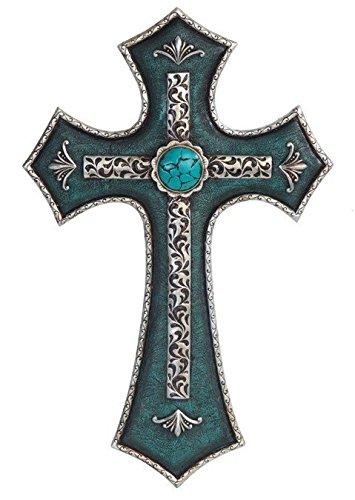 stealstreet ss-g-28285, 39,4cm Deko Wand Kreuz mit Türkis Stein Statue Figur, 39,4cm
